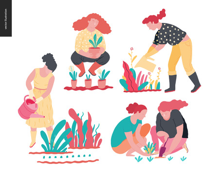People summer gardening - set of vector flat hand drawn illustrations of people doing garden job - watering, planting, growing and transplant sprouts, self-sufficiency concept Illustration