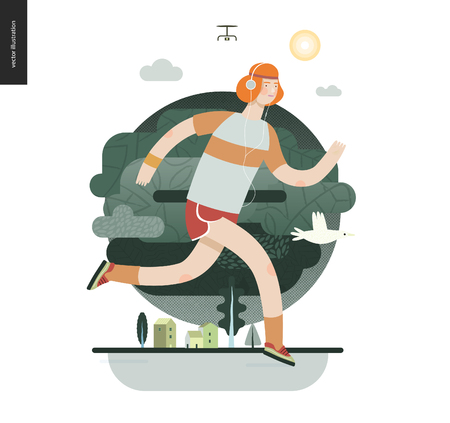 Runners - a man running in the park - flat vector concept illustration of ginger guy with headphones, t-shirt and red shorts. Healthy activity. Green park, trees, drone and house buildings -dark green Stock Photo