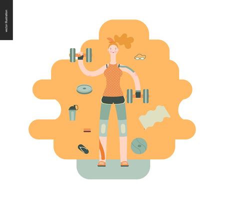 Gym - a girl llifting weights in the gym - flat vector concept illustration of a woman wearing tank top, leggings and kinesio tapes. surrounded by weights, barbell, ball. Healthy concept, gymnasium. Stock Photo