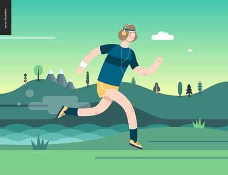 Runners - a man running in the park - flat vector concept illustration of a guy with headphones, t-shirt and yellow shorts. Healthy activity. Green park, trees, hills and a lake landscape at dawn