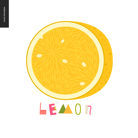 Food patterns - fruit, vector flat illustration of lemon - simple half of a lemon fruit full of juicy yellow pulp and white seeds, and lettering. Perfect for t-shirt, bag or other textile decoration Stock Photo