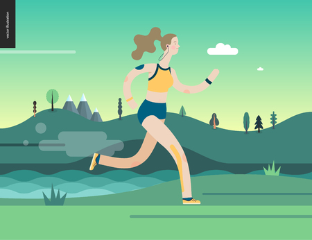Runners - a woman running in the park -flat vector concept illustration of girl with headphones, sporting equipment and kinesio tapes. Healthy activity. Park, trees, hills and a lake landscape at dawn