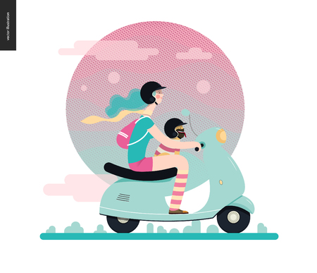 Girl on a scooter - flat vector concept illustration of blue-haired girl wearing helmet riding a light blue scooter, a french bulldog on her lap wearing small helmet, on the pink landscape with clouds