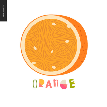 Food patterns - fruit, vector flat illustration of orange -simple half of an orange fruit full of juicy orange pulp and white seeds, and lettering. Perfect for t-shirt, bag or other textile decoration