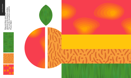 Food patterns, summer - fruit, peach texture, half of peach image on side - four seamless patterns of peach sweet firm pulp, yellow orange smooth rind, nude seed of grainy smooth texture, green leaf Illustration
