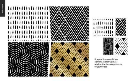 Hand drawn Patterns - a group set of four abstract patterns - black, gold and white. Geometrical lines, dots and shapes - pieces Stock Photo