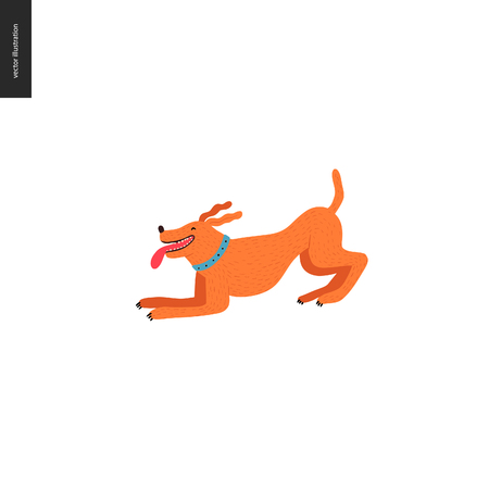 Dog in the park - flat vector concept illustration of an orange brownish dog playing happy in the park