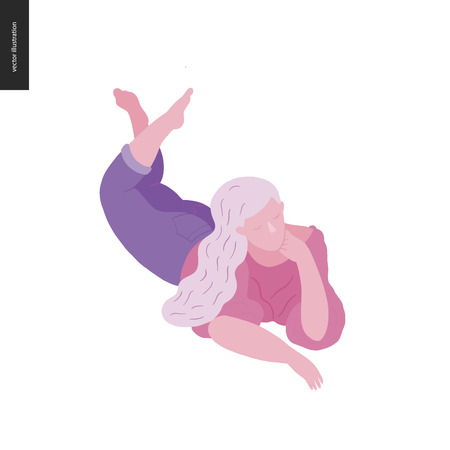 People park festival picnic - flat vector concept illustration of a woman with white hair wearing a blouse and jeans laying on the ground