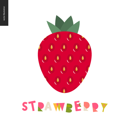 Food patterns - fruit, flat vector illustration, strawberry texture - small red strawberry with yellow seeds, red and green - berry postcard, and lettering, perfect for t-shirt, bag or other textile decoration