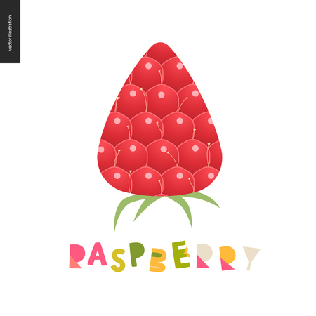 Food patterns - fruit, flat vector illustration, raspberry texture - small red raspberry with yellow seeds, red and green - berry postcard, and lettering, perfect for t-shirt, bag or other textile decoration