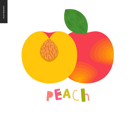 Food patterns - fruit, vector flat illustration of peach- simple half of peach fruit full of firm yellow pulp, orange rind, nude seed, and lettering. Perfect for t-shirt, bag, other textile decoration Illustration