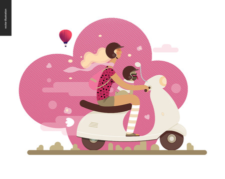 Girl on a scooter - flat vector concept illustration of blonde girl wearing helmet riding a white scooter, a french bulldog on her lap wearing small helmet, on the pink landscape with air balloon