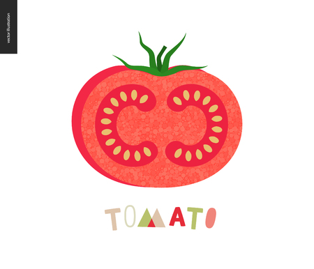 Food patterns, summer - vegetable fruit, flat vector illustration- a ripe tomato with red rind, red pulp, white seeds, green leaves and Tomato lettering, perfect for t-shirt, bag or textile decoration Illustration