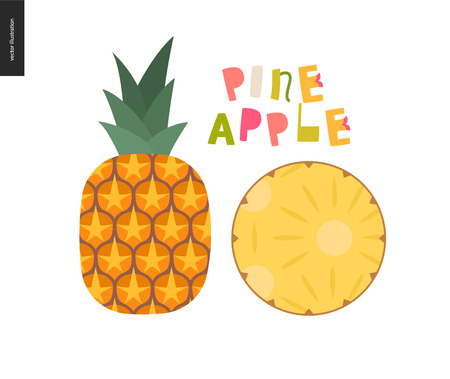 Food patterns - fruit, vector flat illustration of pineapple - simple entire pineapple with green leaves, and a round chunk, and lettering. Perfect for t-shirt, bag or other textile decoration