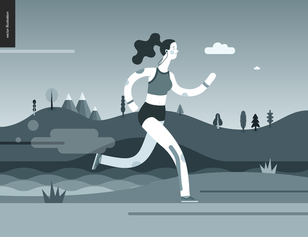 Runners - a woman running in the park - flat vector concept illustration of a girl with headphones, sporting equipment and kinesio tapes. Park, trees, hills and a lake landscape, black and white