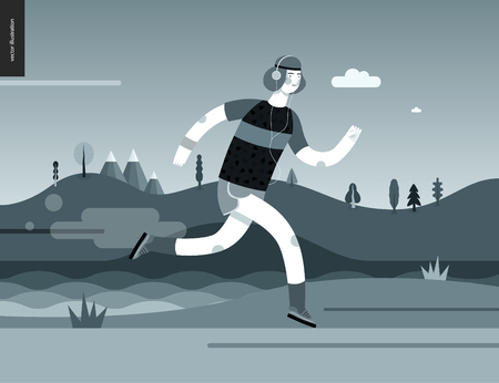 Runners - a man running in the park -flat vector concept illustration of a guy with headphones, t-shirt and shorts. Healthy activity. Park, trees, hills and a lake landscape at dawn in black and white Stock Photo