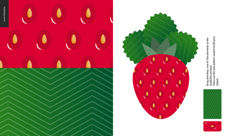 Food patterns, summer - fruit, raspberry peel texture, flat vector illustration, two seamless patterns of the raspberry rind with little white styles and green leaf striped pattern, vitamin berry Stock Illustratie