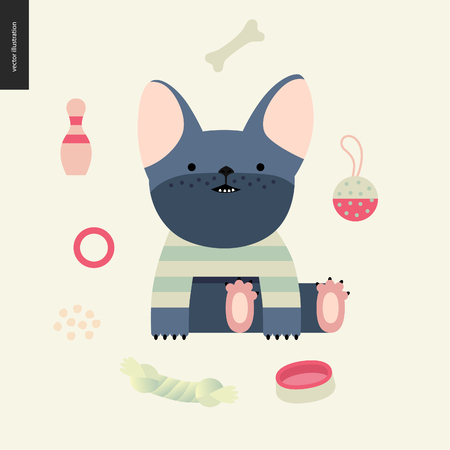 Cartoon French Bulldog. Flat vector Illustration of a cute little french bulldog puppy wearing a striped t-shirt sitting surrounded by its toys, concept illustration Illustration