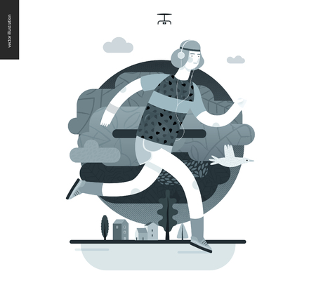 Runners - a man running in the park -flat vector concept illustration of a guy with headphones, t-shirt and shorts. Healthy activity. Park, trees and clouds landscape, black and white Illustration