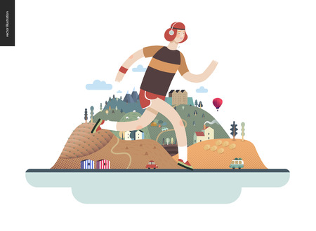 Runners - a running man - flat vector concept illustration of ginger guy with headphones. Healthy activity. hilly island behind with roads, cars, castle, houses and trees,mountains, balloon and clouds