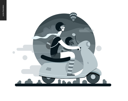 Girl on a scooter - flat black and white vector concept illustration of girl wearing helmet riding scooter, french bulldog on lap wearing small helmet, mountains - black and white background, nature Illustration
