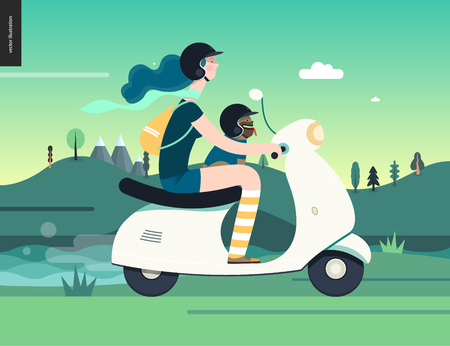 Girl on a scooter -flat vector concept illustration of blue-haired girl wearing helmet riding a white scooter, a french bulldog on lap wearing small helmet, on the green landscape with hill and clouds