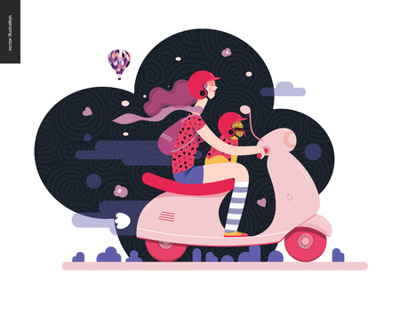 Girl on a scooter - flat vector concept illustration of purple-haired girl wearing helmet riding a white scooter, a french bulldog on her lap wearing small helmet, on the black landscape with air balloon
