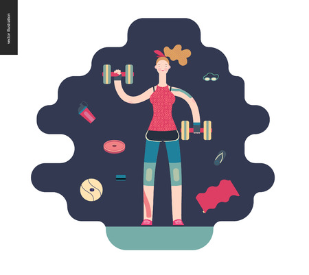 Gym - a girl llifting weights in the gym - flat vector concept illustration of a woman wearing tank top, leggings and kinesio tapes. surrounded by weights, barbell, ball. Healthy concept, gymnasium. Illustration