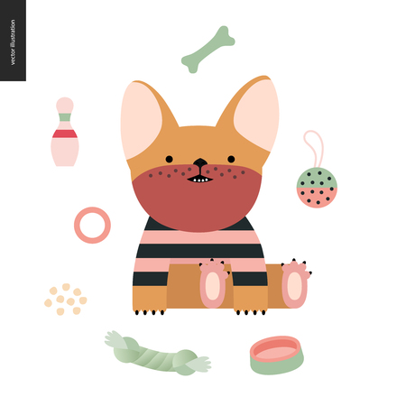 Cartoon French Bulldog. Flat vector Illustration of a cute little french bulldog puppy wearing a striped t-shirt sitting surrounded by its toys, concept illustration Stock Photo