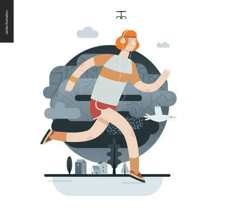 Runners - a man running in the park - flat vector concept illustration of ginger guy with headphones, t-shirt and red shorts. Healthy activity. Green park, trees, drone and house buildings