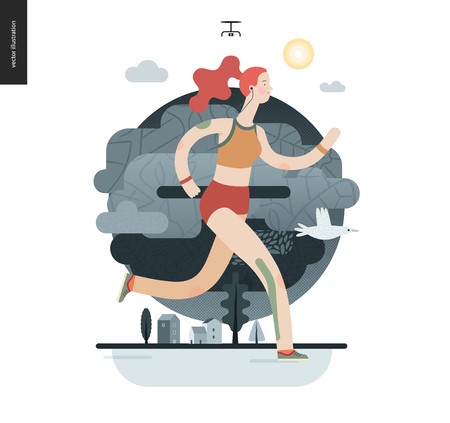 Runners - a girl running in the park - flat vector concept illustration of ginger young woman with headphones, sporting equipment and kinesio tapes.. Healthy activity. Park, trees, drone and houses