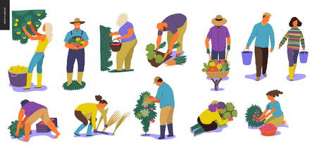 Harvesting people - set of vector flat hand drawn illustrations of people doing farming job - watering, gathering, planting, growing and transplant sprouts, self-sufficiency and harvesting concept