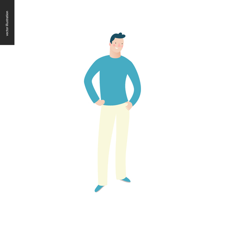 Bright people portraits - young man, hand drawn flat style vector doodle design illustration of a smiling young man standing with arms akimbo, concept illustration Vecteurs