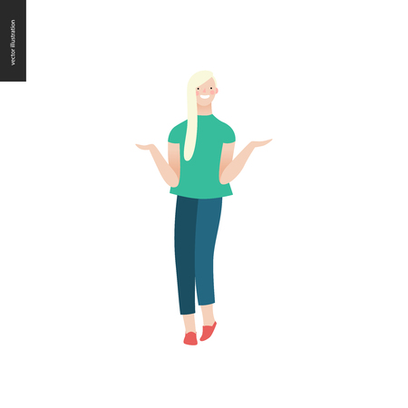 Bright people portraits - young woman, hand drawn flat style vector doodle design illustration of a smiling blonde girl standing writhing her hands, concept illustration