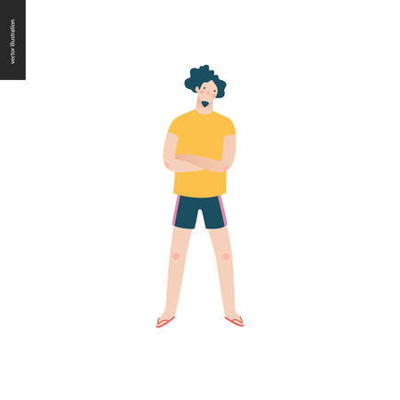 Bright people portraits - young man, hand drawn flat style vector doodle design illustration of a serious young man standing with his arms crossed, concept illustration