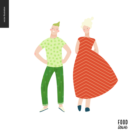 Love food people portraits - a flat vector concept illustration of a young man and woman wearing food pattern clothes - cucmber and salmon, standing posing in masked ball or play costumes