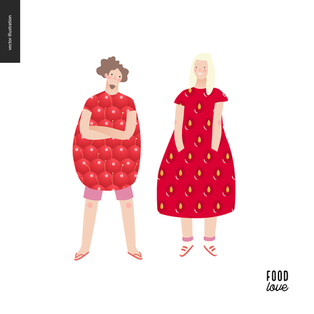 Love food people portraits - a flat vector concept illustration of a young man and woman wearing food pattern clothes - strawberry and raspberry, standing posing in masked ball or play costumes Illustration