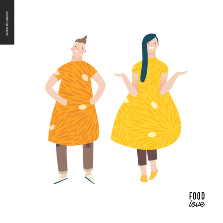 Love food people portraits - a flat vector concept illustration of a young man and woman wearing food pattern clothes - orange and lemon, standing posing in masked ball or play costumes