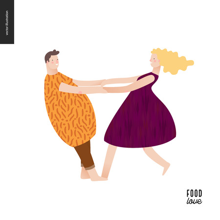 Love food people portraits - a flat vector concept illustration of a young man and woman wearing food pattern clothes - plum and stone, masked ball or play costumes, whirling holding their hands