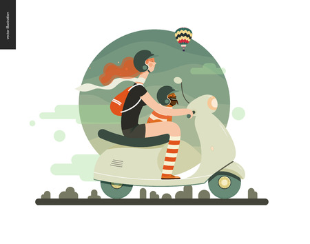 Girl on a scooter - flat vector concept illustration of ginger girl wearing helmet riding a green scooter, a french bulldog on her lap wearing small helmet, on the green landscape with air balloon