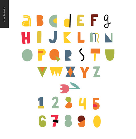 Kids flat alphabet set - Fun latin font - letters and digits Illustration