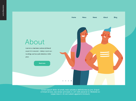 Bright people - website template About the the company. Flat style vector doodle illustration of a young woman standing writhing hands and smiling boy standing with arms akimbo, concept illustration Banque d'images - 111921606