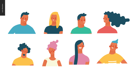 Bright people portraits set - hand drawn flat style vector design concept illustration of young men and women, male and female faces and shoulders avatars. Flat style vector icons set Stock Photo