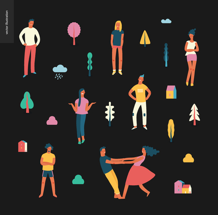 Bright people portraits pattern - young men and women - set of various posing people in fashion colors -standing with arms akimbo, crossed arms, whirling couple holding their hands, concept characters