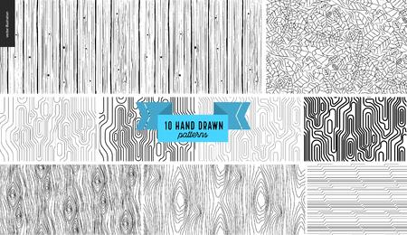 Set, disegno geometrico nero, bianco disegnato a mano. Vector seamless pattern Sfondo astratto, colpi. Struttura monocromatica Design grafico hipster. Sfondi vettoriali senza fine, trame semplici, strisce