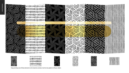 Hand drawn Patterns - a group set of six abstract seamless patterns - black, gold and white. Verticle pieces of geometrical lines, dots and shapes - pieces