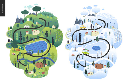 Magical season landscape - an island in two seasons - green summer and snowed up winter - with lake, cars, trees, houses, hills and mountains