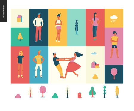 Bright people portraits pattern -young men and women - set of various posing people in fashion colors - standing with arms akimbo, crossed arms, whirling couple holding their hands, concept characters Stock Photo