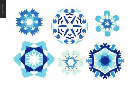 Winter kaleidoscopic patterns - set of floral snowflakes
