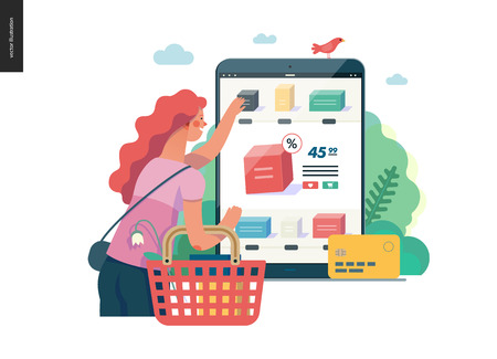 Business series -buy online shop -modern flat vector illustration concept of woman shopping online holding basket. Website interaction -purchase process. Creative landing page design template. Color 1 Illustration